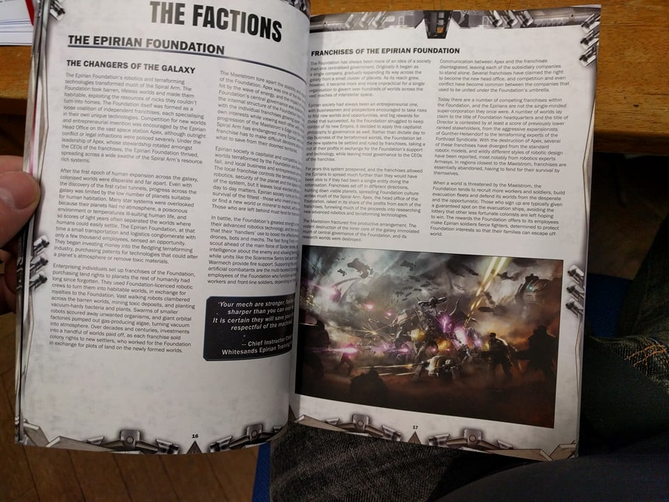The Maelstrom's Edge A5 rulebook details all the game rules, the army building for the first two factions, as well as lots of rich background to the Maelstrom's Edge universe