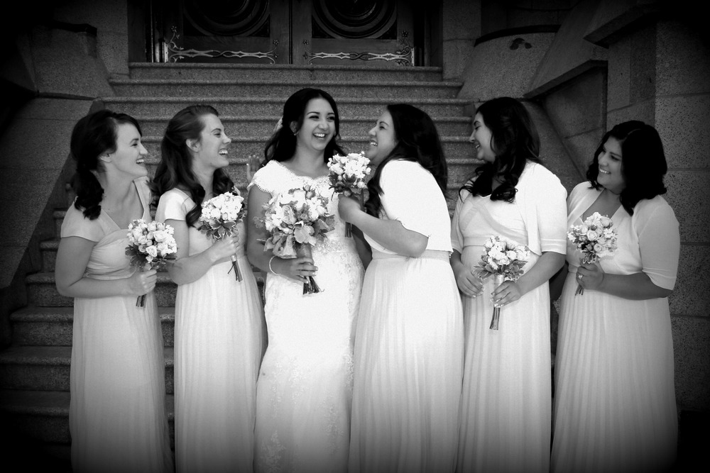 Salt Lake Bride maids at the LDS Salt Lake Temple