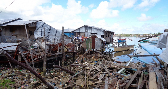 A coastal village destroyed by Typhoon Haiyan in southern Philippines.