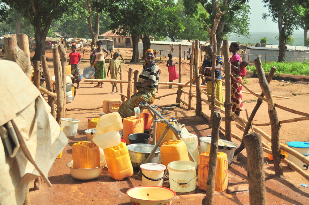 Water points, such as this one, are supported by the international aid organizations. There is a real need for donor governments to provide adequate funding for much-needed emergency services.