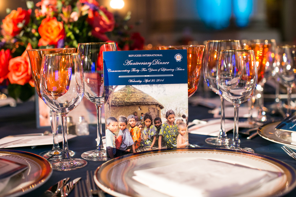 Table setting at Refugees International 35th Anniversary Dinner