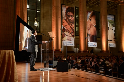 Rohingya Activist & President of BROUK, Tun Khin accepting the Richard C. Holbrooke Award