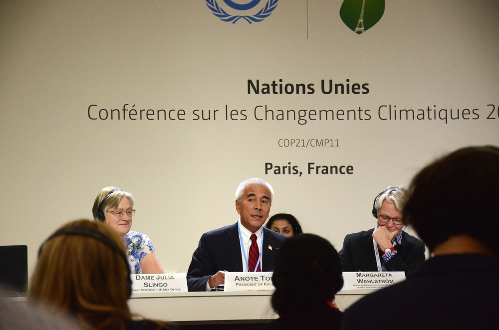 """Our plea is very simple: Let us give substance to the pledges that are made. Let us not pay lip-service to an issue that requires urgent action."" Kiribati President Anote Tong speaks at an event at COP21. Photo credit: Mattea Mrkusic."