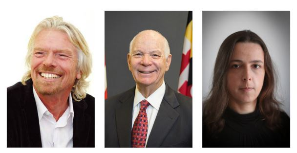 Sir Richard Branson, Senator Ben Cardin, and Olena Honcharova.