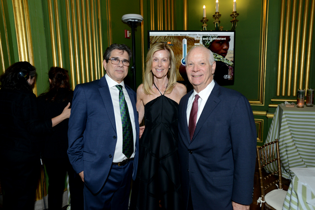 From left, Refugees International (RI) President Michel Gabaudan and RI Board Chair Eileen Shields-West join Sen. Ben Cardin (D-Md.) at the group's 37th annual Anniversary Dinner, where Cardin was given the Congressional Leadership Award.