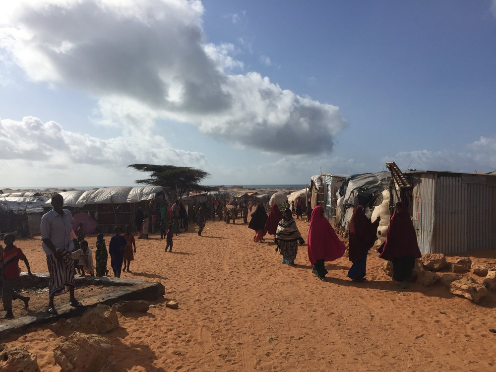 Dalxiska IDP settlement in Kismayo. Access to basic services are extremely limited for the residents here, and for many IDPs, land tenure issues could lead to forced evictions.