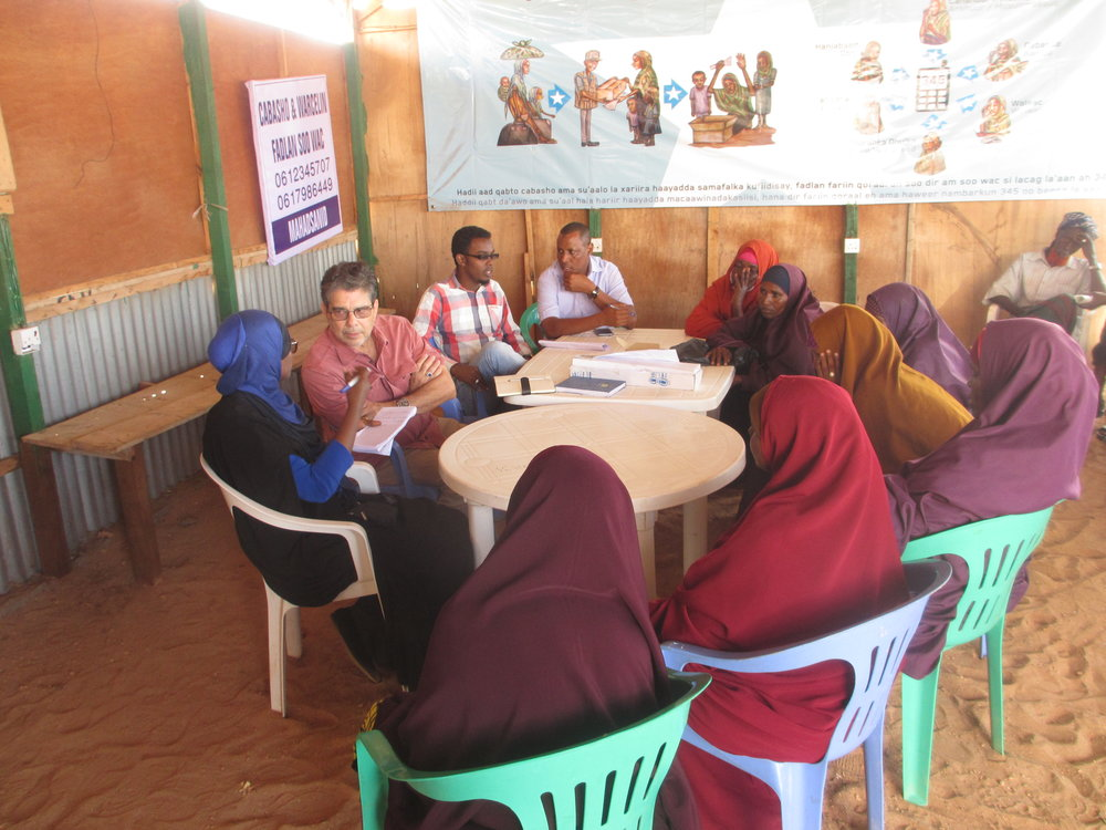 RI President, Michel Gabaudan, meets with women who recently returned from Dadaab. They described an intense campaign by officials in Kenya imploring that it was time to return to Somalia. Now that they are in Kismayo, some worry how or if their children will be able to go to school.