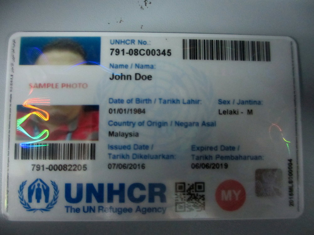 UNHCR provides identification cards which reduces the possibility of arrest and increases the ability to find work and receive medical treatment at reduced cost. But not all Rohingya have been able to get these cards.