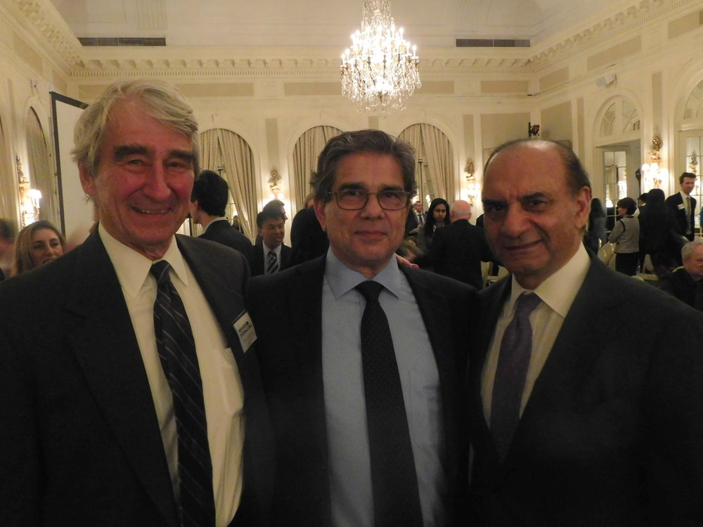 RI Director Emeritus Sam Waterston, RI President Michel Gabaudan, RI Chair Emeritus Farooq Kathwari.
