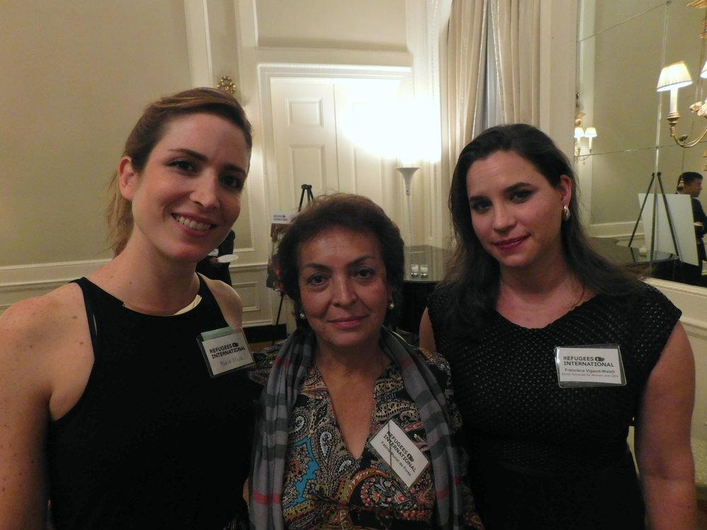 Maria Velez,Fatima Muriel de Florez, and RI Senior Advocate Francisca Vigaud-Walsh.