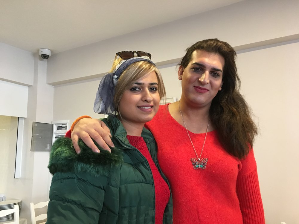 Many refugees in Turkey face particular vulnerabilities based on their race, religion, or sexual identity. Pictured above are two transgender women from Iran.