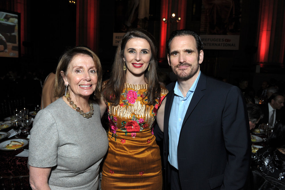House Minority Leader Nancy Pelosi, Ambassador of Kosovo Vlora Çitaku and RI Board Member Matt Dillon.