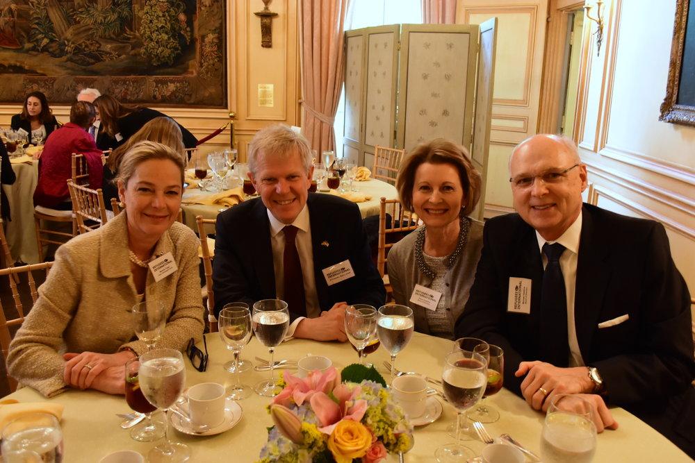 Mariella Trager, Ambassador of Sweden Björn Lyrvall, Diane and Michael Hawkins.