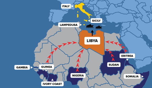 Libya To Italy Map.Hell On Earth Abuses Against Refugees And Migrants Trying To Reach