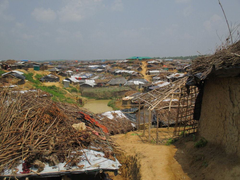 There are 33,000 officially recognized Rohingya refugees living in two camps established in the early 1990s. Half are estimated to have been born in the camps. They act as a reminder of the long-standing nature of the plight of the Rohingya and the dangers of failing to address the most recent exodus. Pictured here is the sprawling makeshift settlement that has been built up next to the official Kutupalong Refugee Camp.