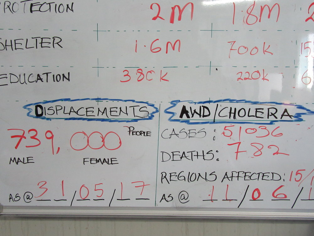 Cholera and other water borne disease are taking a major toll, as indicated by this white board hanging on the wall of the UN's Drought Operation Coordination Center in Mogadishu.
