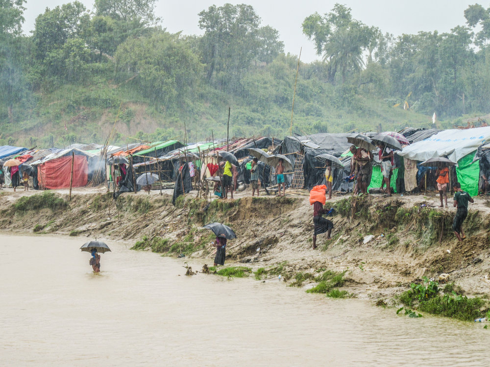 "Rohingya fleeing abuses in Myanmar seek refuge in ""no-man's land"" between the borders of Myanmar and Bangladesh."