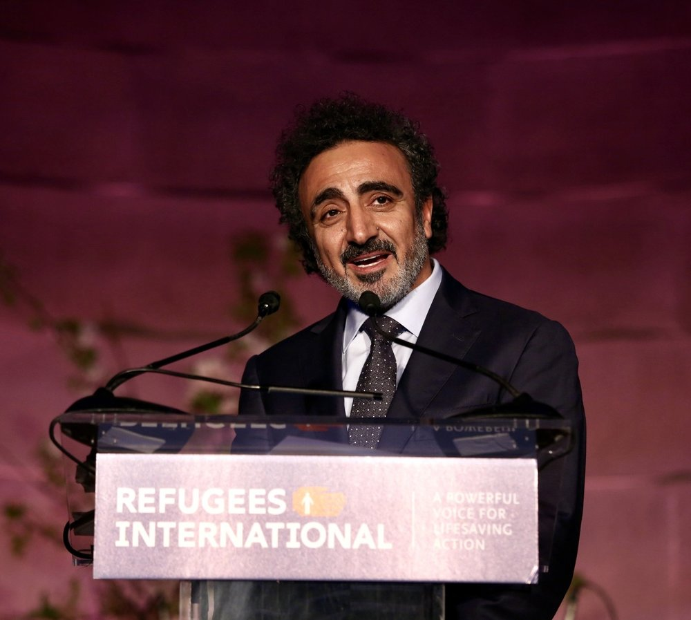 2018 McCall-Pierpaoli Humanitarian Award Winner Hamdi Ulukaya addresses Refugees International's 39th Anniversary Dinner.
