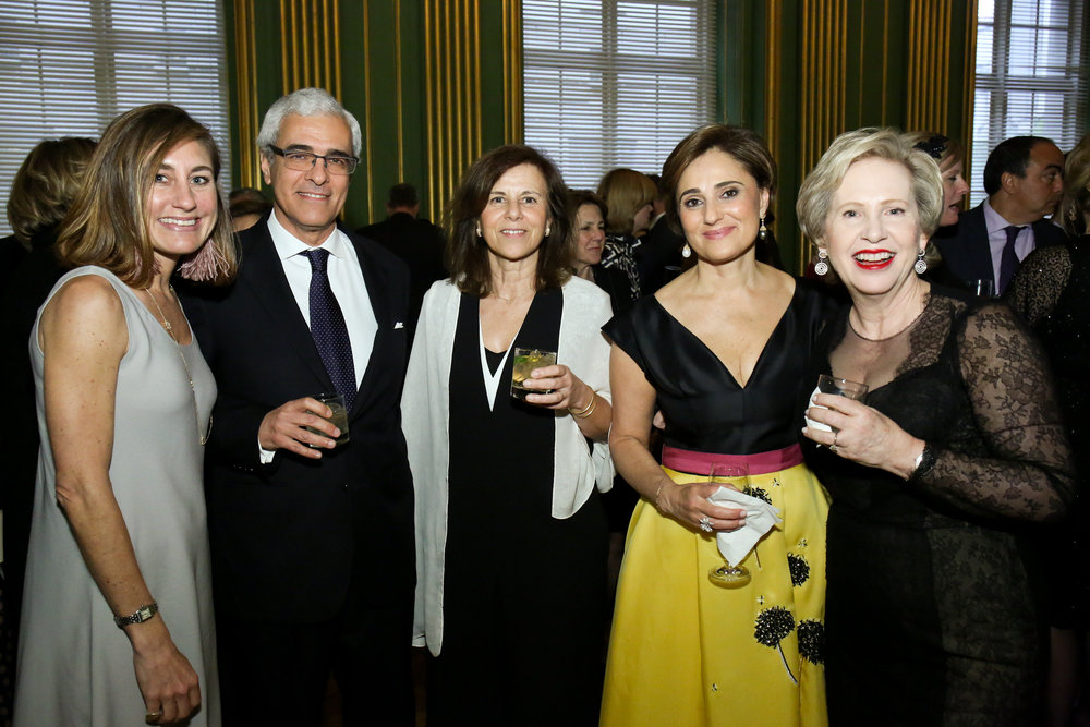 Honorary Chairs Ambassador Domingos Fezas Vital and Isabel Vital with Board Members Sarah Bacon (far left), Darya Nasr (second from right) and Lisa Barry (far right).