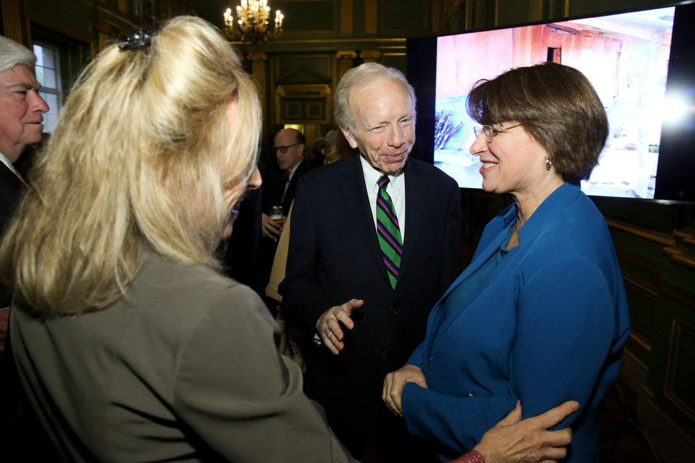 Senator Chris Dodd, Hadassah Lieberman, Senator Joe Lieberman, and Senator Amy Klobuchar