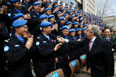 UN Secretary General Guterres meets with peacekeeping trainees in China. (UN Photo - Yun Zhao