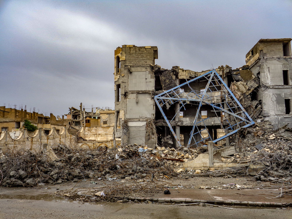 Destruction in Raqqa, Syria.