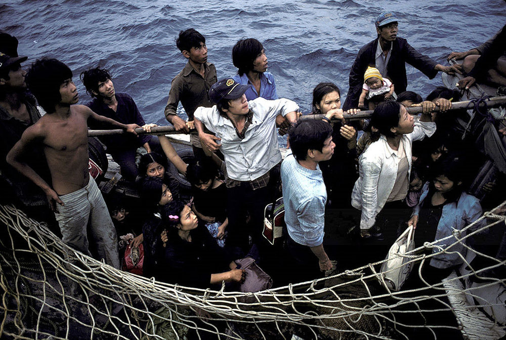 Vietnamese refugees in South China Sea are rescued by Medecins du Monde (Doctors of The World) on board the Goelo boat (Photo by Michel Setboum/Getty Images)