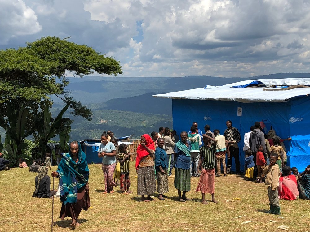 Secondary displacement site near Yirgacheffe, Gedeo Zone, the Southern Nations, Nationalities, and Peoples' (SNNP) Region, Ethiopia. (Photo by Refugees International)