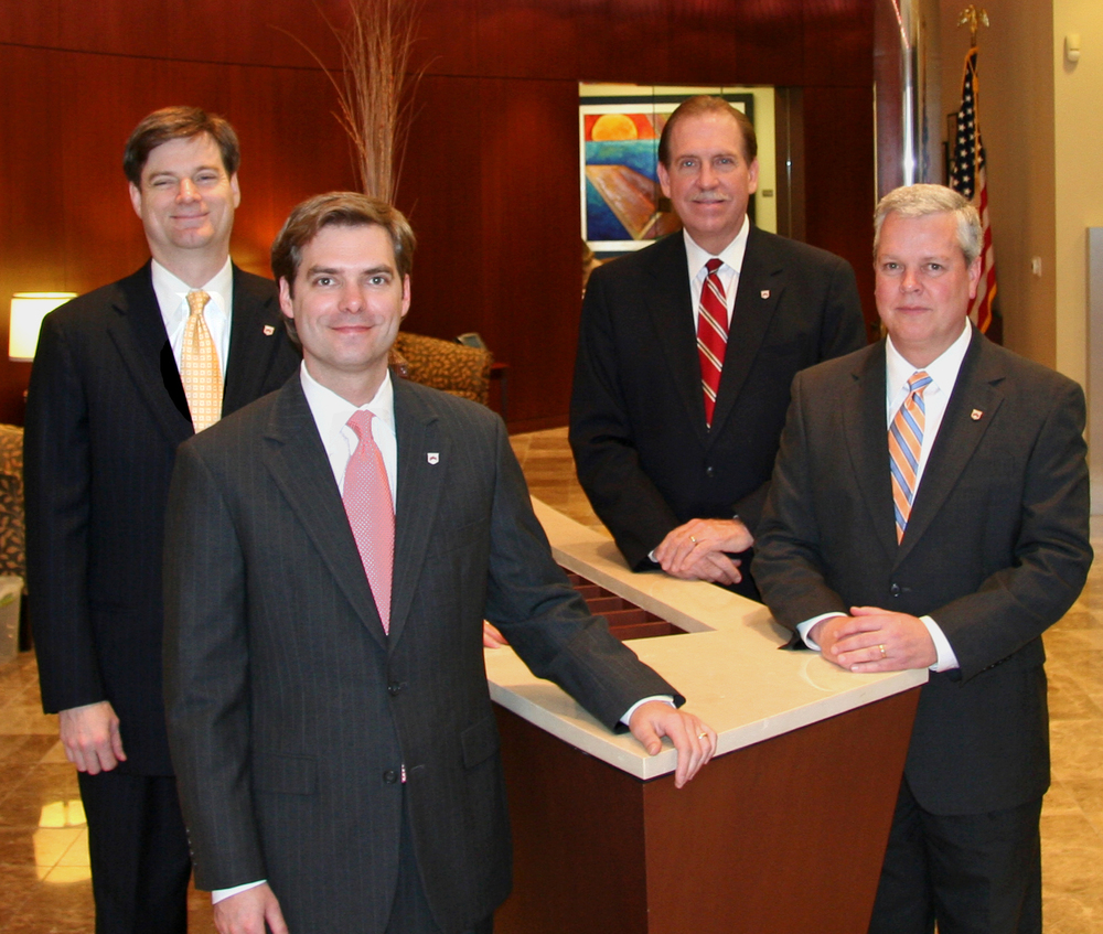 Paragon National Bank's newly expanded executive management team (from left to right): Andy Taylor, Senior Credit Officer; Michael Erhardt, Chief Financial Officer; Sam McClatchy, Senior Lender; Robert Shaw, President and CEO.