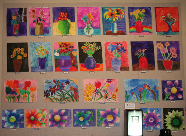 The artwork of Dogwood Elementary students hangs in the Saddle Creek banking Center
