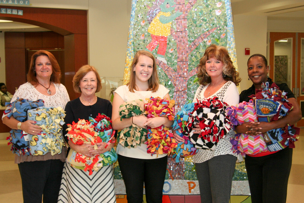 Each year Paragon employees make no-sew blankets during Employee Appreciation week that are delivered to patients at Le Bonheur.