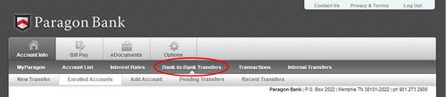 1. Locate the Account Info tab and click on the Bank-to-Bank Transfer menu.