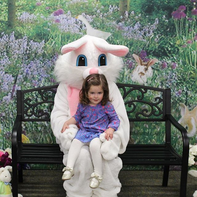 🐰 livvy LOVED the Easter bunny. she climbed right up and sat confidently, holding the bunny's hands with that smirky smile, and when we had to leave, she asked the bunny where her basket was. I love how she loves the holidays! 🐣🌷🥕