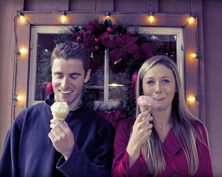 Only in California!  A young couple enjoys some ice cream while picking out their Christmas tree.