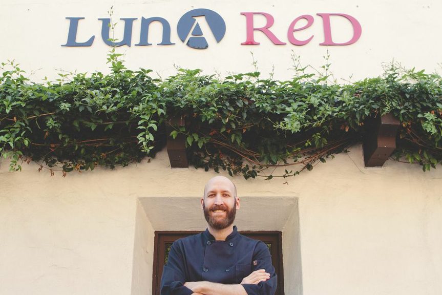 Chef Shaun Behrens in front of Luna Red restaurant in San Luis Obispo, California.