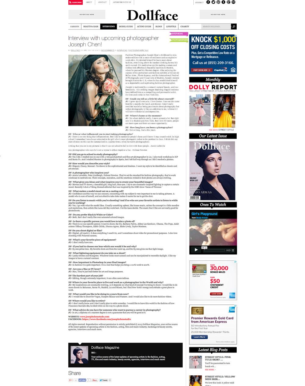 Dollface Magazine Interview