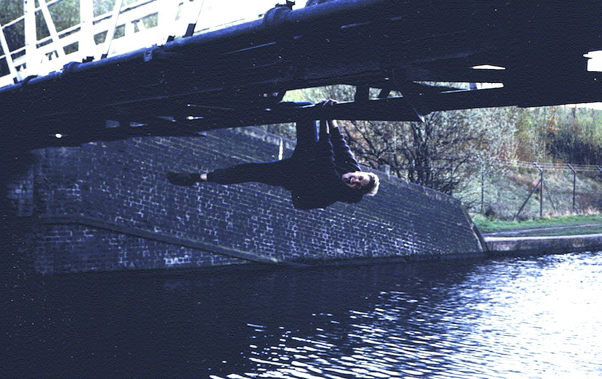 Crossing a bridge over the canal in Stoke-on-Trent (1989).