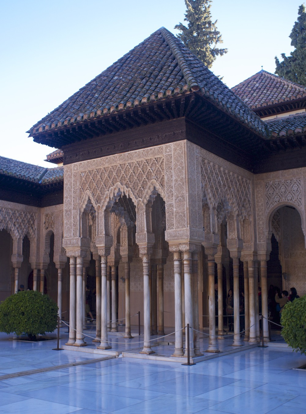 Moorish architecture and ornaments in the Alhambra.