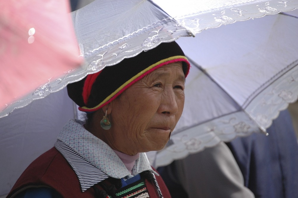 Woman with Parasol in Lijiang