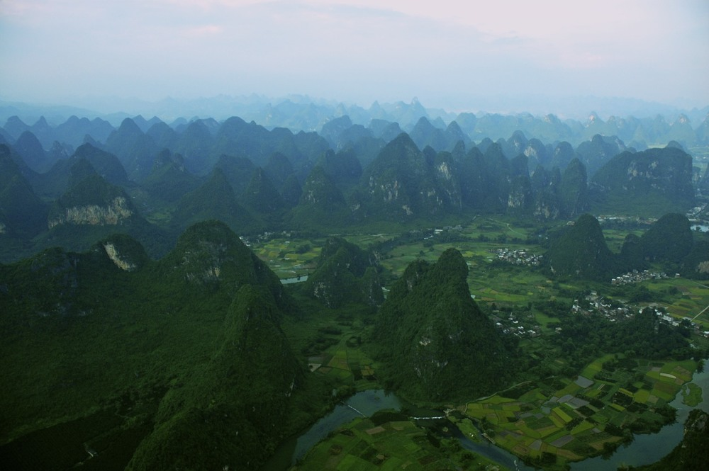 Yangshuo karst from balloon