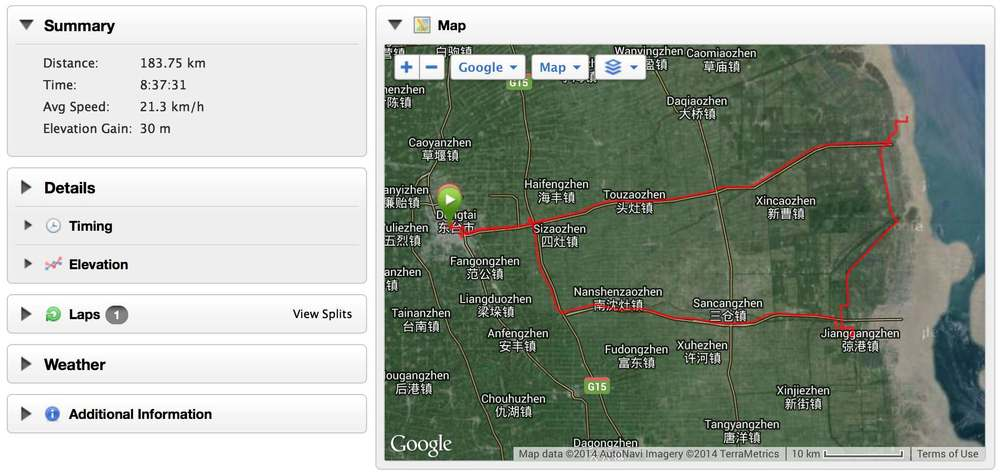 Dongtai (Jiangsu Province) to the Yellow Sea and back.