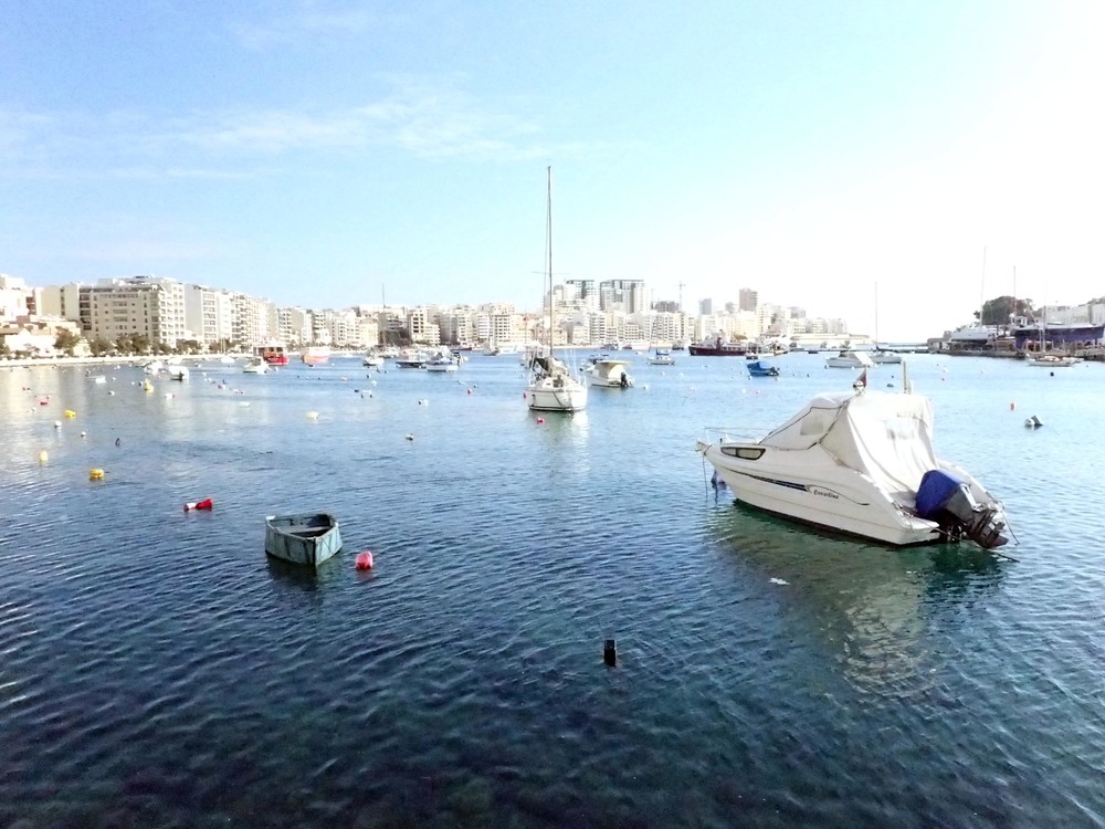 Sliema over the clear harbor waters