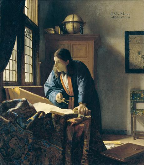 """The Geographer"" (1669) by Johannes Vermeer (copyright: public domain)"