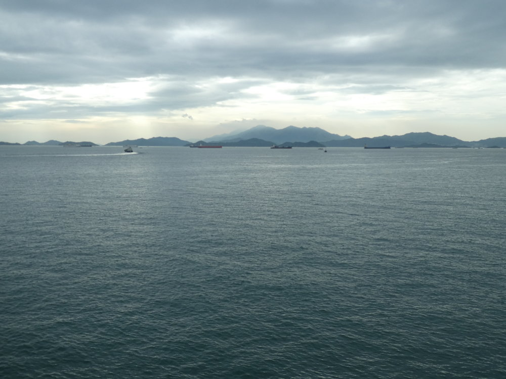 Evening view from Telegraph Bay to Lantau Island.