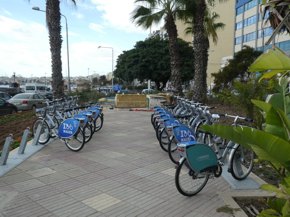 Nextbike station in Sliema, opposite the ferry pier.