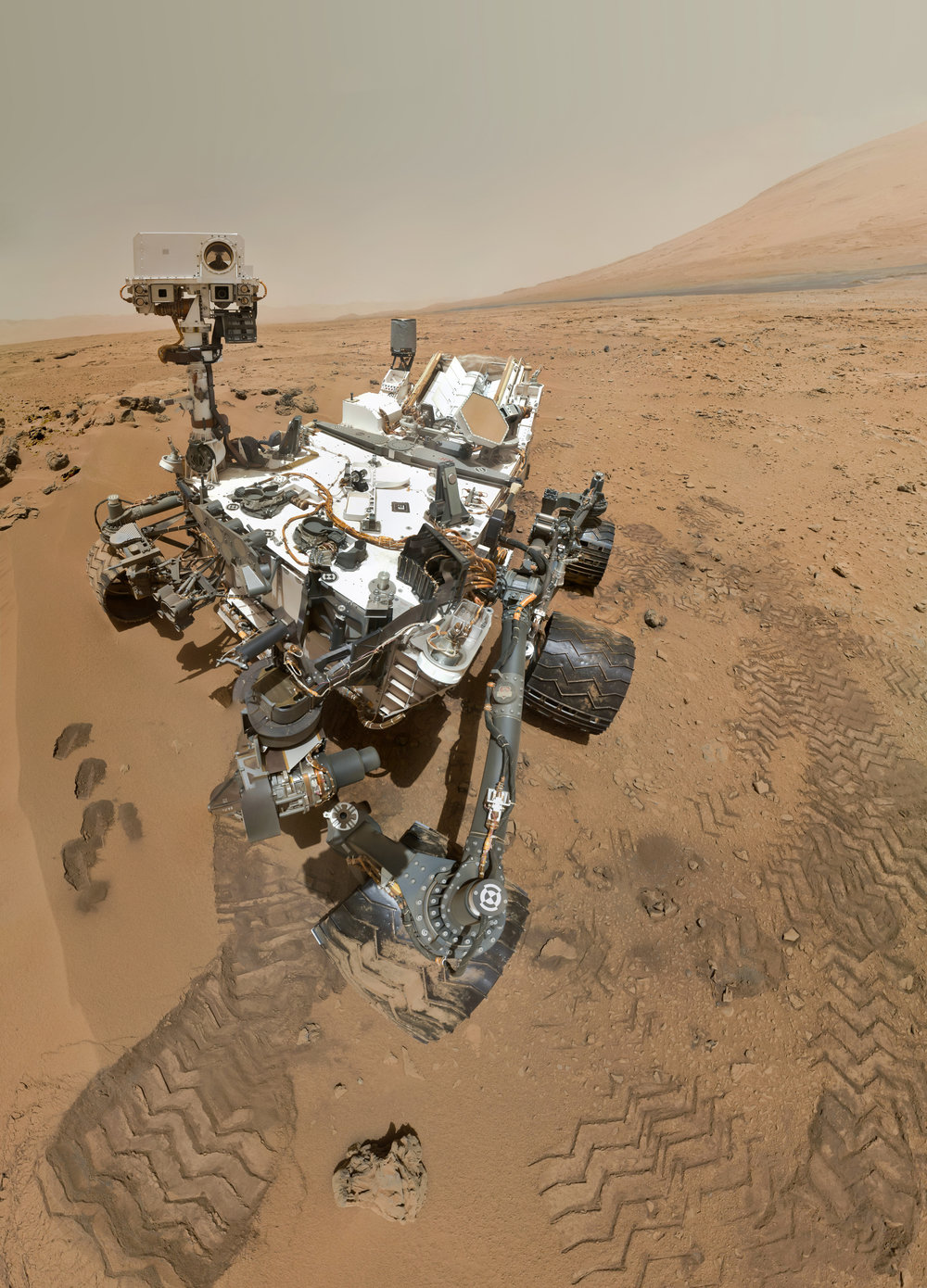 "Selfie of ""Curiosity"" at the  Gale Crater , Sol 85, Mars (2012), (Photo in public domain under  NASA image policy )"