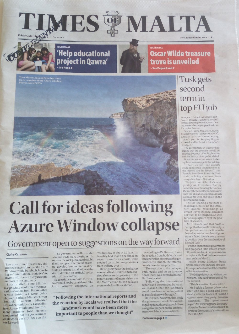 The title page of the Times of Malta on March 10th, following the collapse of the Azure Window.