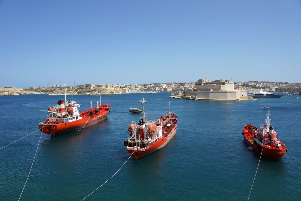 View on Fort Saint Angelo, Kalkara and Rinella Bay