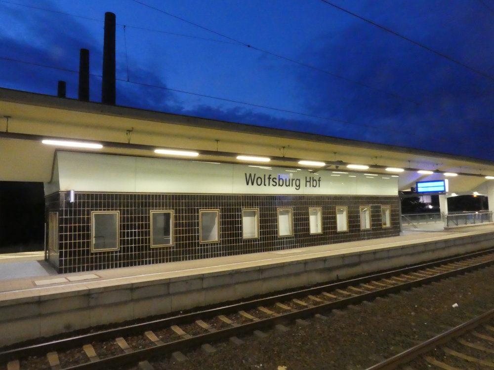 Arriving in the car city at the Wolfsburg train station