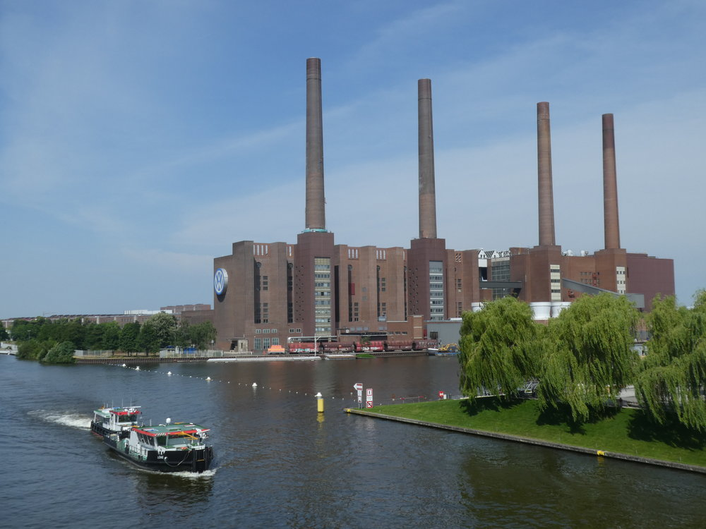 View on the old power plant of the Volkswagen Wolfsburg site, at the Mittellandkanal.